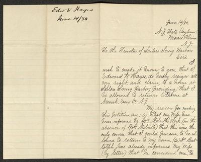 The letter is handwritten in black ink on cream-colored paper with faint blue lines. It has been folded in half; on the right half of this side of the paper is the first part of the letter. On the left half is a notation in the upper corner with the name of the sender, date, and subject of the inquiry, probably for filing purposes.