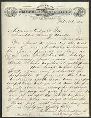 Letter to Captain Thomas Melville, Governor of Sailors' Snug Harbor, from W. [William] I. Fielding, of the National Wire Mattress Co., February 3, 1880