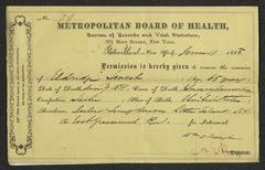 Permit to move the body of Eldridge Sweet, with accompanying letter from the coroner, James Dempsey, June 11, 1868