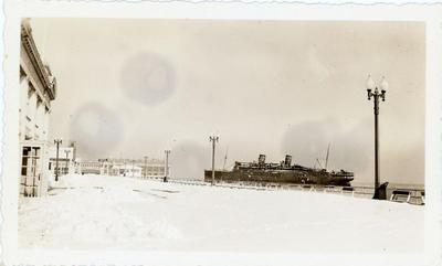 The SS Morro Castle lies in Asbury Park, New Jersey, during the winter of 1935.