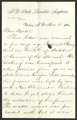 The letter is handwritten with dark brown ink on N. Y. State Lunatic Asylum letterhead, which is on cream-colored paper with blue lines below the header. The sheet has been folded several times. This is the first page of the letter.