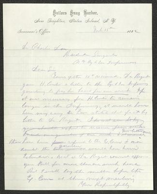 The letter is handwritten in blue pencil on Sailors' Snug Harbor letterhead, which is on cream-colored paper with blue lines below the header. The sheet has been folded several times.