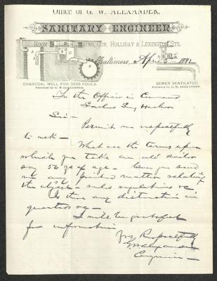 The letter is handwritten with dark brown ink on G. W. Alexander, Sanitary Engineer letterhead, which is printed on cream-colored paper with blue lines below the header. The sheet has been folded several times.