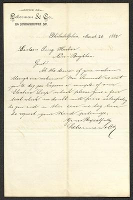 The letter is handwritten with dark ink on Leberman & Co. letterhead, which is printed on cream-colored paper with faint lines below the header. The sheet has been folded several times and has a distinct vertical fold dividing the paper in half.