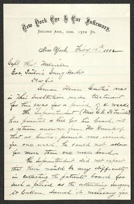 The letter is handwritten with dark brown ink on hew York Eye & Ear Infirmary letterhead, which is printed on cream-colored paper with blue lines below the header. The sheet has been folded several times.