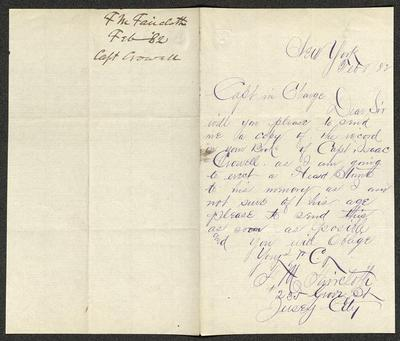 The letter is handwritten in blue ink on cream-colored paper with faint blue lines. It has been folded in half; on the right half of this side of the paper is the first part of the letter. On the left half is a notation in the upper right corner with the name of the sender, date, and subject of the inquiry, probably for filing purposes.