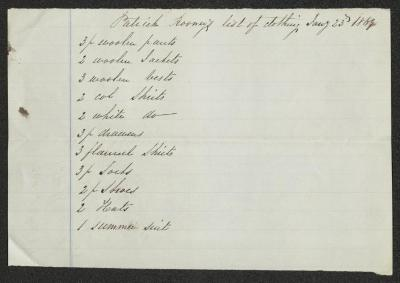 The list is handwritten in dark-brown ink on cream-colored paper with faint blue lines. It has been folded in half horizontally.