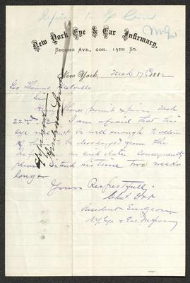 The letter is handwritten with blue ink on hew York Eye & Ear Infirmary letterhead, which is printed on cream-colored paper with blue lines below the header. The sheet has been folded several times.