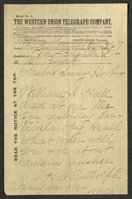 The text is handwritten in brown ink on a pre-printed Western Union Telegraph Company telegram form. The paper has been folded several times.