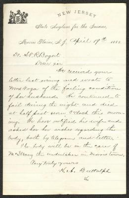 This letter is handwritten with brown ink on New Jersey State Asylum for the Insane letterhead, which is on cream-colored paper with blue lines below the header. The sheet has been folded several times and has a prominent vertical fold dividing the sheet in half.
