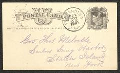 Postcard to Captain Thomas Melville, Governor of Sailors' Snug Harbor, from W. J. Young, of Fernandina, Fla., February 28, 1881