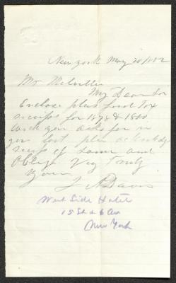 The letter is handwritten in pencil on cream-colored paper with faint blue lines. It has been folded several times and the most prominent fold divides the sheet in half vertically. An additional notation in blue pencil gives the author's address.