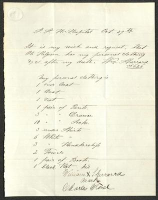 The document is handwritten in dark brown ink on cream-colored paper with blue lines. It has been folded several times.