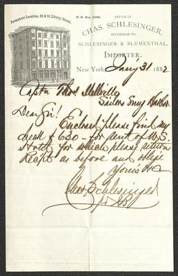 The letter is handwritten with dark brown ink on Charles Schlesinger's business letterhead, which is printed on cream-colored paper with blue lines below the header. The sheet has been folded several times and has a distinct vertical fold dividing the paper in half.