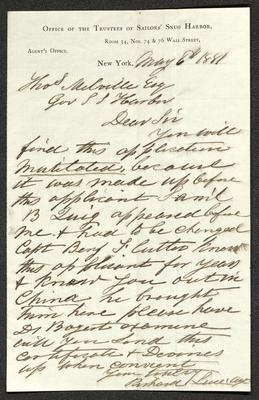 The letter is handwritten in brown ink on Office of the Trustees of Sailors' Snug Harbor letterhead, which is printed on cream-colored paper. The sheet has a distinct vertical fold dividing the paper in half.