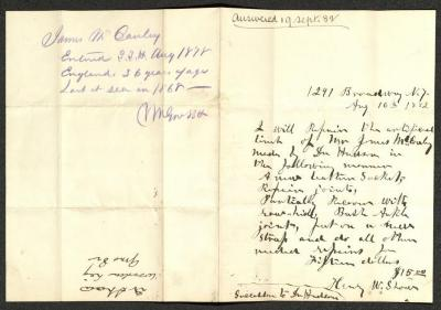 The letter is handwritten on cream-colored paper with faint blue lines. It has been folded in half; on the right half of this side of the paper is the text of the letter, written in brownish-black ink. Above this text, at the top edge, is a notation in light brown ink. On the left half is a notation at the top of the page, just to the left of the central vertical fold, in blue pencil, with information on the inmate in question. On the same half, but oriented in the opposite direction, at the opposite edge, is a notation with the name of the sender, date, and subject of the inquiry, probably for filing purposes.