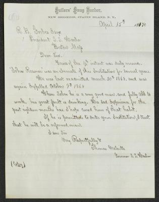 The letter is handwritten with dark brown ink on Sailors' Snug Harbor letterhead, which is on cream-colored paper with faint blue lines below the header. The sheet has been folded several times horizontally.