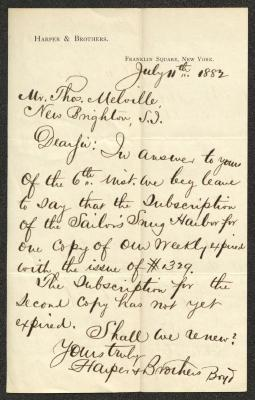 The letter is handwritten in brown ink on Harper & Brothers letterhead, which is printed on cream-colored paper. The sheet has been folded several times and has a distinct vertical fold dividing the paper in half.