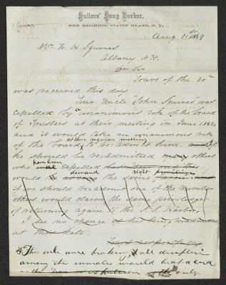 The letter is handwritten with dark brown ink on Sailors' Snug Harbor letterhead, which is on cream-colored paper with blue lines below the header. The sheet has been folded several times horizontally