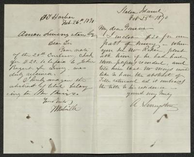 The letter is handwritten in brown ink on cream-colored paper. It has been folded in half; on the right half of this side of the paper is the original. On the left half is the reply to the original letter.