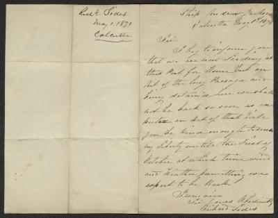The letter is handwritten in brown ink on cream-colored paper. It has been folded in half; on the right half of this side of the paper is the first part of the letter. On the left half is a notation in the upper corner with the name of the sender, date, and location of origin, probably for filing purposes.