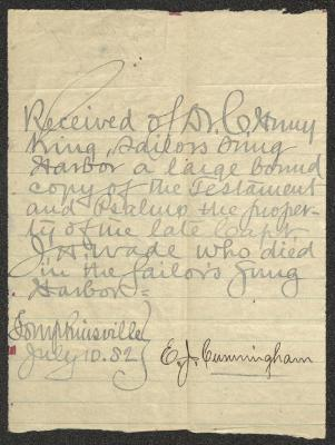 The letter is handwritten in grayish-blue on cream-colored paper with faint blue lines. It has been folded several times and the most prominent fold divides the sheet in half vertically. The signature of the recipient is written in black ink in the lower right corner.