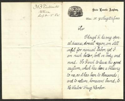 The letter is handwritten with dark grayish-blue ink on New York State Lunatic Asylum letterhead, which is printed on cream-colored paper with blue lines below the header. The sheet has been folded several times and has a distinct vertical fold dividing the paper in half; on the right half of this side of the paper is the first part of the letter. On the left half is a notation at the upper edge, just to the left of the central vertical fold, with the name of the sender and the date, probably for filing purposes.
