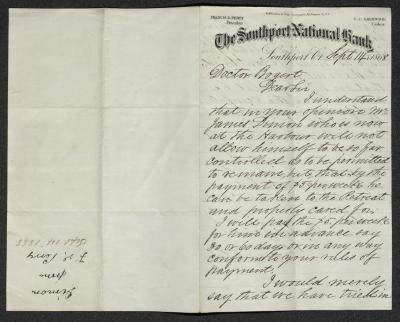 The letter is handwritten with dark brown ink on Southport National Bank letterhead, which is on cream-colored paper with faint blue lines below the header. The sheet has been folded several times and has a distinct vertical fold dividing the paper in half. The right half contains the first page of the letter; the left half is blank except for an annotation in the bottom left corner with the subject of inquiry, name of the sender, and date, presumably for filing purposes. The right half does not have faint blue lines.