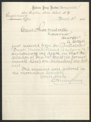 The letter is handwritten with grayish-blue ink on Sailors' Snug Harbor letterhead, which is printed on cream-colored paper with blue lines below the header. The sheet has been folded several times.