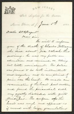 This letter is handwritten with dark ink on New Jersey State Asylum for the Insane letterhead, which is on cream-colored paper with blue lines below the header. The sheet has been folded several times and has a prominent vertical fold dividing the sheet in half. This is the first page of the letter.