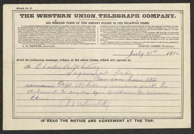 The text is handwritten in blue pencil on a pre-printed Western Union Telegraph Company telegram form. The paper has been folded several times.