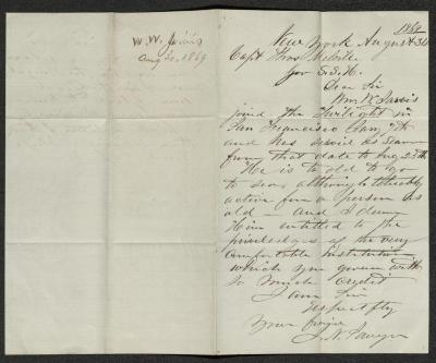 The letter is handwritten in brown ink on cream-colored paper with faint blue lines. It has been folded in half; on the right half of this side of the paper is the first part of the letter. On the left half is a notation in the upper corner with the  date, and subject of the inquiry, probably for filing purposes.