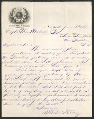 The letter is handwritten with dark brown ink on Bates, Reed & Cooley letterhead, which is printed on cream-colored paper with blue lines below the header. The paper has a pinkish cast. The sheet has been folded several times.