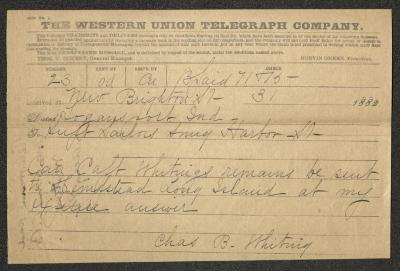 The text is handwritten in black ink on a pre-printed Western Union Telegraph Company telegram form. The paper has been folded in half width-wise.