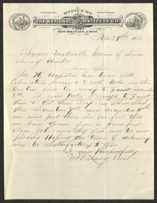 The letter is handwritten with dark brown ink on National Wire Mattress Co. letterhead, which is on cream-colored paper with blue lines below the header. The sheet has been folded several times.