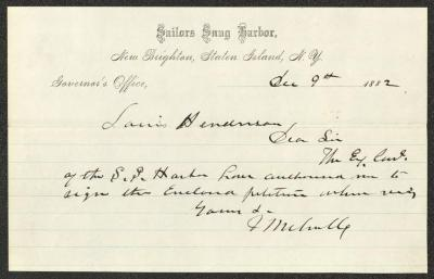 The letter is handwritten in black ink on Sailors' Snug Harbor letterhead, which is on cream-colored paper with blue lines below the header. The sheet has been folded in half horizontally.