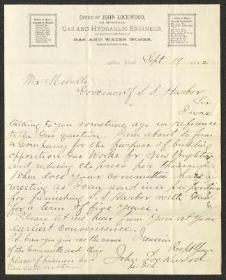 The letter is handwritten with dark brown ink on John Lockwood's company letterhead, which is printed on cream-colored paper with blue lines below the header. The sheet has been folded several times.