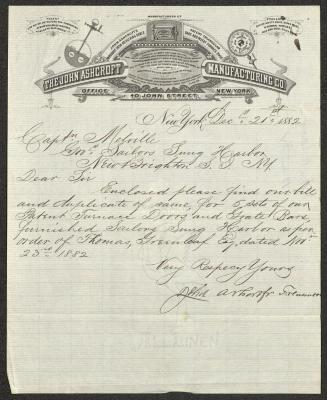 The letter is handwritten with dark brown ink on John Ashcroft Manufacturing Company letterhead, which is printed on cream-colored onionskin paper with blue lines below the header. The sheet has been folded several times.