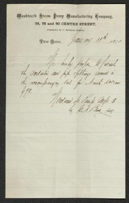 The letter is handwritten with dark brown ink on Woodward Steam Pump Manufacturing Company letterhead, which is on cream-colored paper with faint blue lines below the header. It has been folded several times.