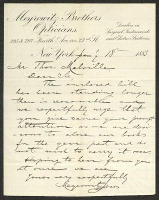 The letter is handwritten with black ink on Meyrowitz Brothers Opticians letterhead, which is printed on cream-colored paper with blue lines below the header. The sheet has been folded several times and has a distinct vertical fold dividing the paper in half.