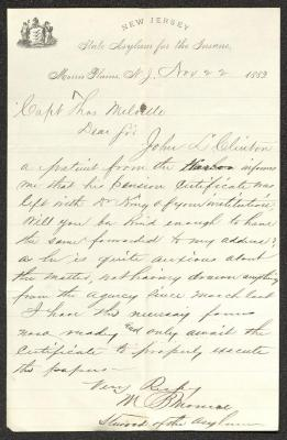 This letter is handwritten with brown ink on New Jersey State Asylum for the Insane letterhead, which is on cream-colored paper with blue lines below the header. The sheet has been folded several times and the most prominent fold divides the paper in half vertically.