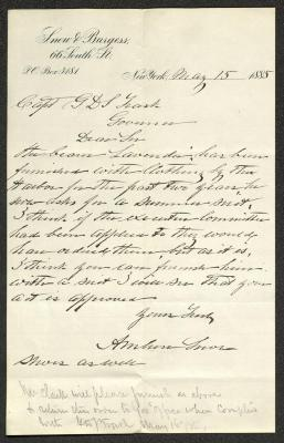 The letter is handwritten on Snow & Burgess letterhead, which is on cream-colored paper with blue lines below the header. It has been folded several times and the most prominent fold divides the sheet in half vertically.