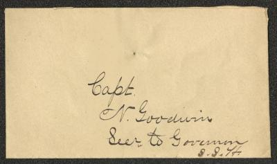 The front of the envelope is addressed in dark brown ink. There are a set of pinholes above the name of the addressee.