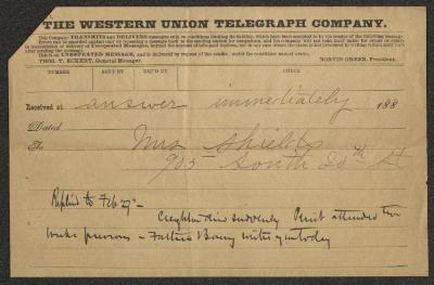 The telegram is on a Western Union Telegraph Company telegram form, pre-printed on brown paper and filled in by hand in black ink. A later notation is written at the bottom of the form.