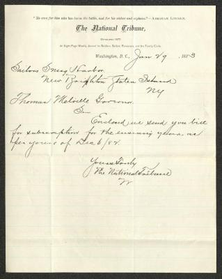 The letter is handwritten with dark brown ink on National Tribune letterhead, which is printed on cream-colored paper with blue lines below the header. The sheet has been folded several times.