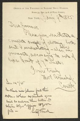 The original letter is handwritten with dark brown ink on Sailor's Snug Harbor letterhead, which is printed on cream-colored paper. In the lower left corner is an annotation by Governor Trask, in black ink. The sheet has been folded several times and has a distinct vertical fold dividing the paper in half.