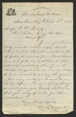 This letter is handwritten with dark brown ink on New Jersey State Asylum for the Insane letterhead, which is on cream-colored paper with blue lines below the header. The sheet has been folded several times.