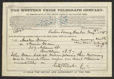 The telegram is handwritten in dark brown ink on a pre-printed Western Union form. At the top is a sum written in blue pencil.