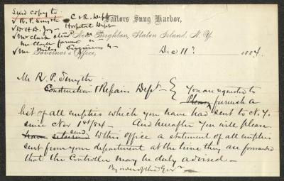 The letter is handwritten with black ink on Sailors' Snug Harbor letterhead, which is printed on cream-colored paper with blue lines below the header. There is a tear in the upper right edge of the paper.