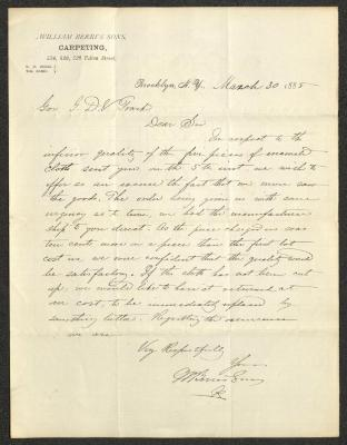 The letter is handwritten with dark brown ink on William Berri's Sons Carpeting letterhead, which is printed on cream-colored paper with blue lines below the header. The sheet has been folded several times.